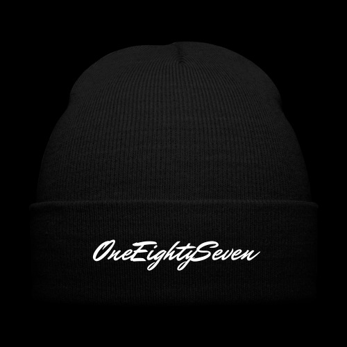 187 Black beanie  - Knit Cap with Cuff Print