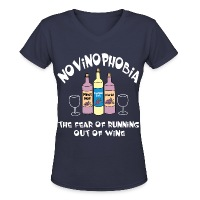 Novinophobia Bottles White Text - Women's V-Neck T-Shirt