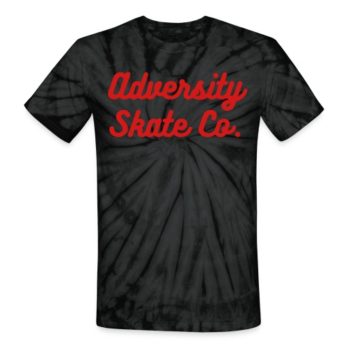 Adversity tie dye red text tee (Available in black, blue, and pink) - Unisex Tie Dye T-Shirt