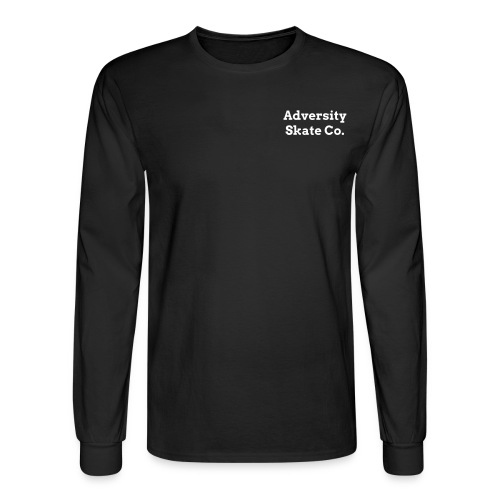 Adversity front and back design long sleeve tee white on black or dark blue  - Men's Long Sleeve T-Shirt
