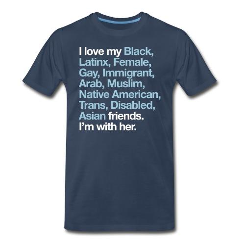 I Love My Friends Mens Navy T-Shirt - Men's Premium T-Shirt