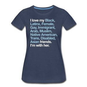 I Love My Friends Womens Navy T-Shirt - Women's Premium T-Shirt