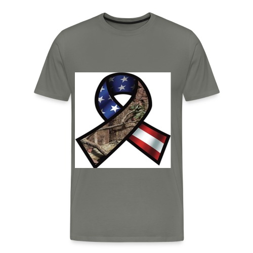 Mossy Oak Break-Up Camo Support Our Troops Ribbon Decal - Men's Premium T-Shirt