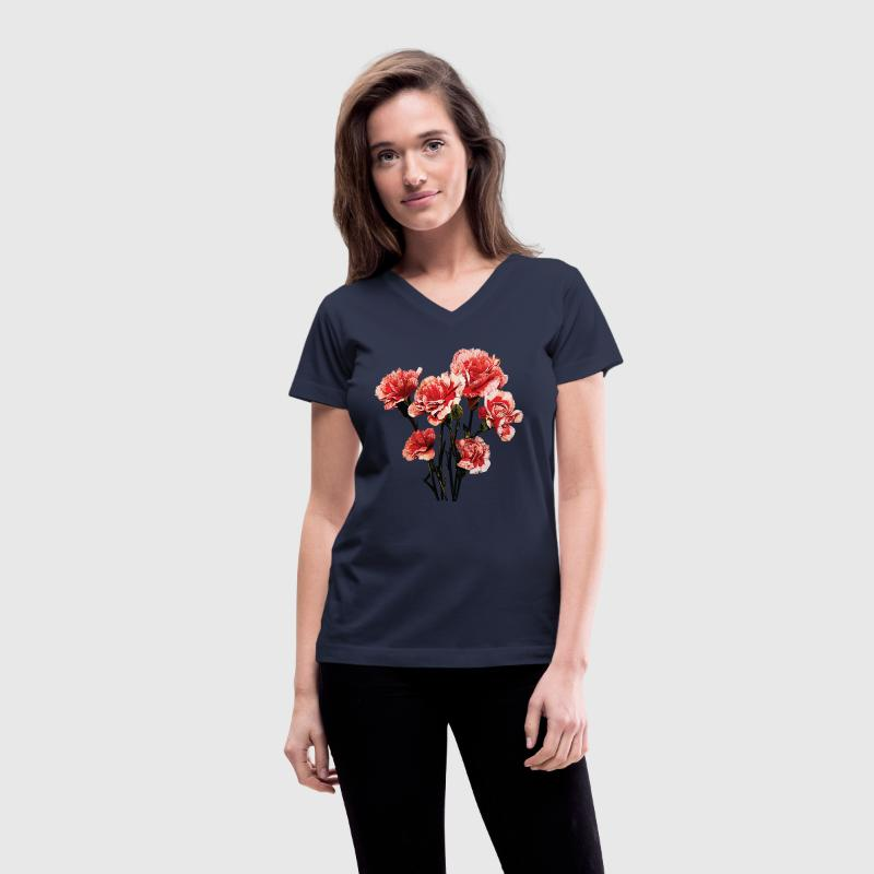 Red Tipped Carnations - Women's V-Neck T-Shirt