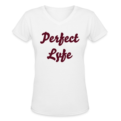 PL V-neck (maroon) - Women's V-Neck T-Shirt