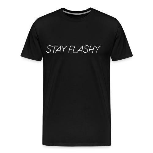 DECOYY STAY FLASHY SHORT SLEEVE - WHT on BLK - Men's Premium T-Shirt