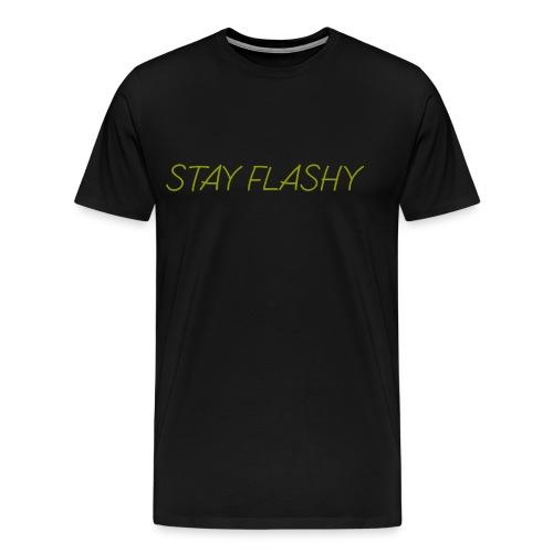 DECOYY STAY FLASHY SHORT SLEEVE - GLD on BLK - Men's Premium T-Shirt