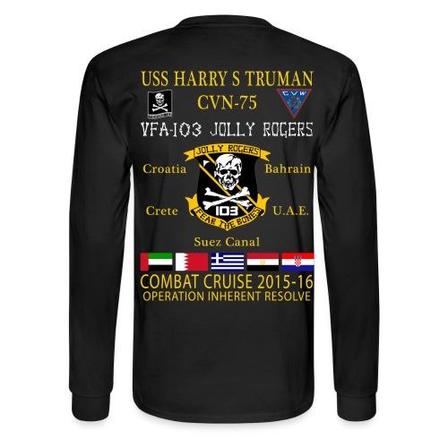 USS HARRY S TRUMAN w/ VFA-103 JOLLY ROGERS 2015-16 CRUISE SHIRT - LONG SLEEVE - Men's Long Sleeve T-Shirt