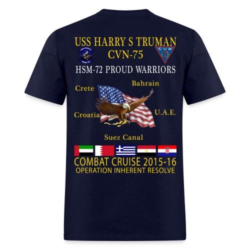 USS HARRY S TRUMAN w/ HSM-72 PROUD WARRIORS 2015-16 CRUISE SHIRT - Men's T-Shirt
