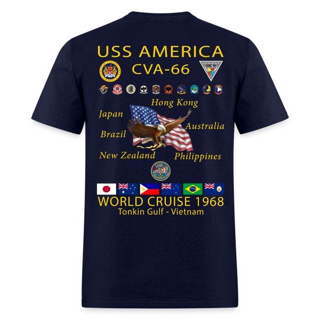 USS AMERICA CVA-66 1968 CRUISE SHIRT