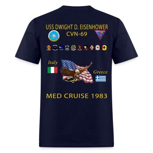 USS DWIGHT D EISENHOWER CVN-69 MED CRUISE 1983 CRUISE SHIRT - Men's T-Shirt