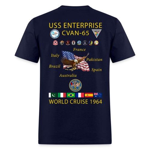 USS ENTERPRISE CVAN-65 WORLD CRUISE 1964 CRUISE SHIRT - Men's T-Shirt