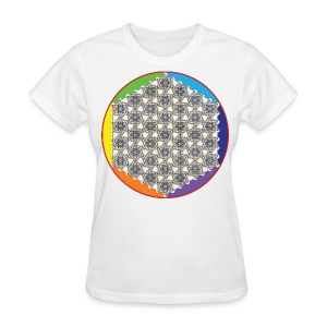 Rainbow Flower of Life Black - Women's T-Shirt