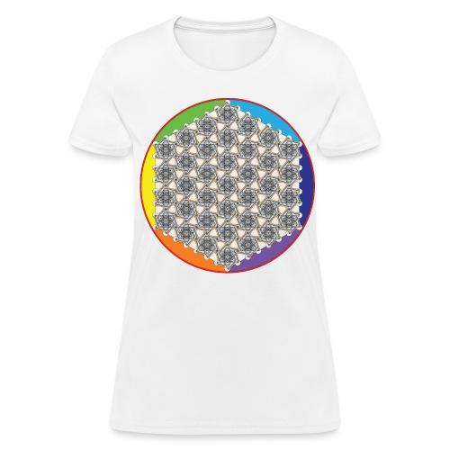 Rainbow Flower of Life Black - Women's T-Shirt
