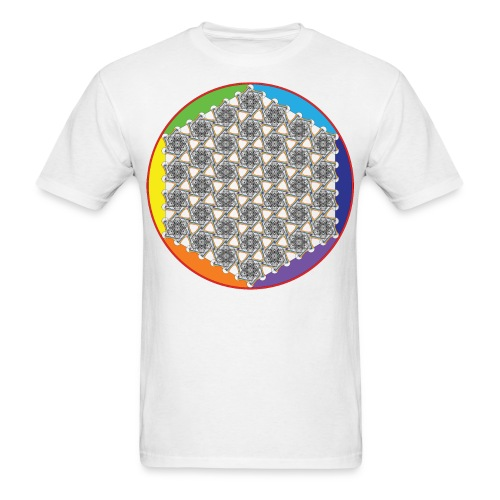 Rainbow Flower of Life Black - Men's T-Shirt