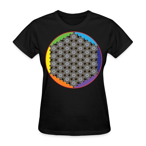 Rainbow Flower of Life White - Women's T-Shirt