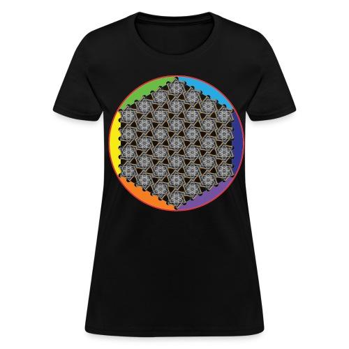 Rainbow Flower of Life White - Women's T-Shirt