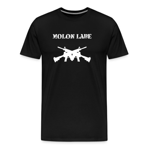 Men's Premium T-Shirt - warriors,soldiers,patriotism,molon labe,gun,firearm,crossguns