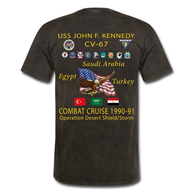 USS JOHN F KENNEDY CV-67 COMBAT CRUISE 1990-91 CRUISE SHIRT