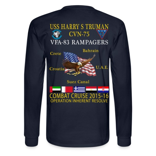 USS HARRY S TRUMAN w/ VFA-83 RAMPAGERS 2015-16 CRUISE SHIRT - LONG SLEEVE  - Men's Long Sleeve T-Shirt