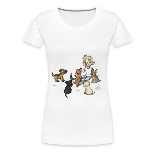 Dog Womens Shirt with grass - Women's Premium T-Shirt