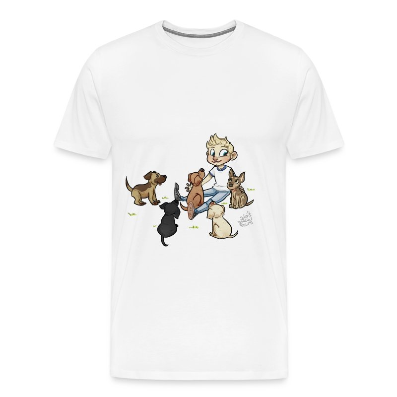 Dog Mens Shirt with grass - Men's Premium T-Shirt