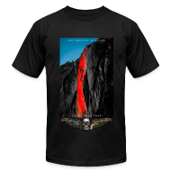 T-Shirts ~ Men's T-Shirt by American Apparel ~ The Rage of Achilles: Yosemite Horsetail Firefalls with Golden Skull'n'Wings