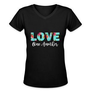 Love One Another Women's Black T-Shirt - Women's V-Neck T-Shirt