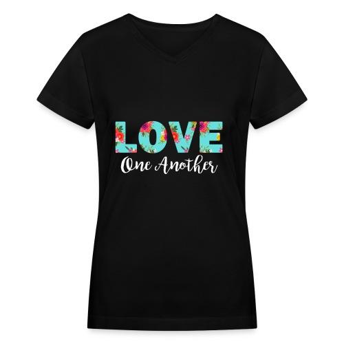 Love One Another Women's Black T-Shirt - Women's V-Neck T-Shirt