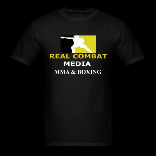 Real Combat Media Gold MMA & Boxing White Text Edition  - Men's T-Shirt