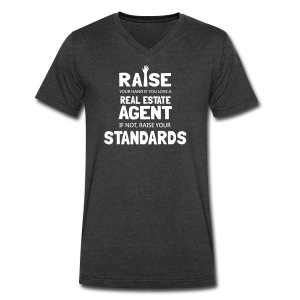 Raise Your Hand if You Love a Real Estate Agent - Men's V-Neck T-Shirt by Canvas