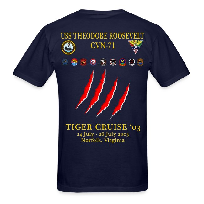 USS THEODORE ROOSEVELT 2003 TIGER CRUISE SHIRT - CLAW