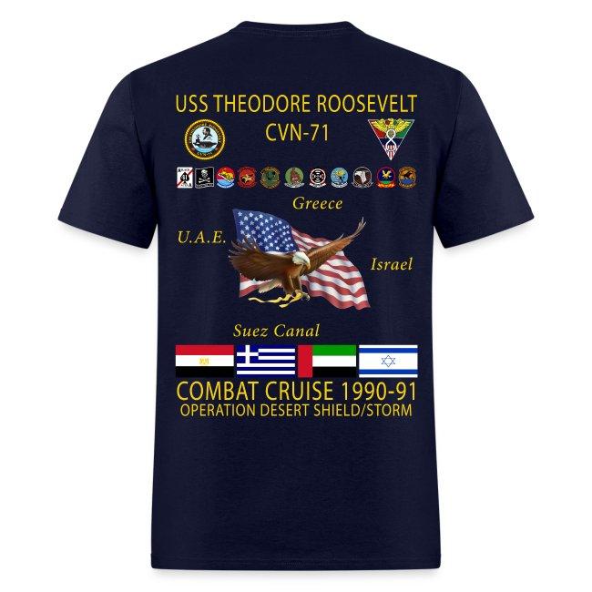 USS THEODORE ROOSEVELT CVN-71 COMBAT CRUISE 1990-91 CRUISE SHIRT