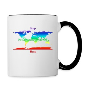 STOP HATE Rainbow Earth Two-Tone Office Mug-a part of the profits will go to the SPLC thru the end of 2018 - Contrast Coffee Mug