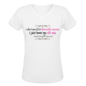 Tits Out! V-Neck in White - Women's V-Neck T-Shirt