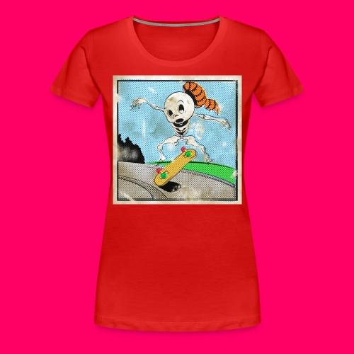 Retro Comic Skeleboarder Kickflip! - Women's Premium T-Shirt