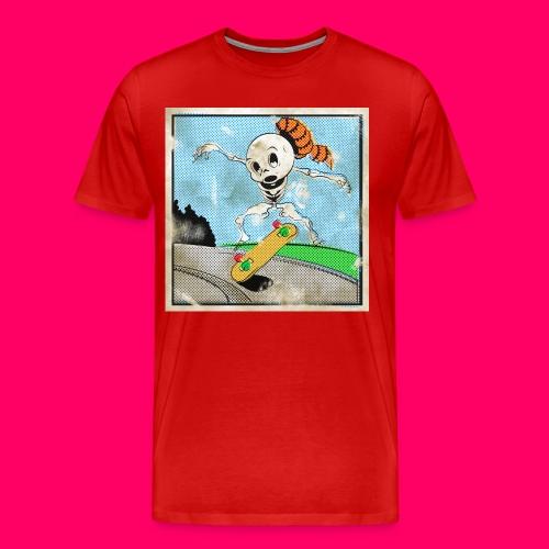Retro Comic Skeleboarder Kickflip! - Men's Premium T-Shirt