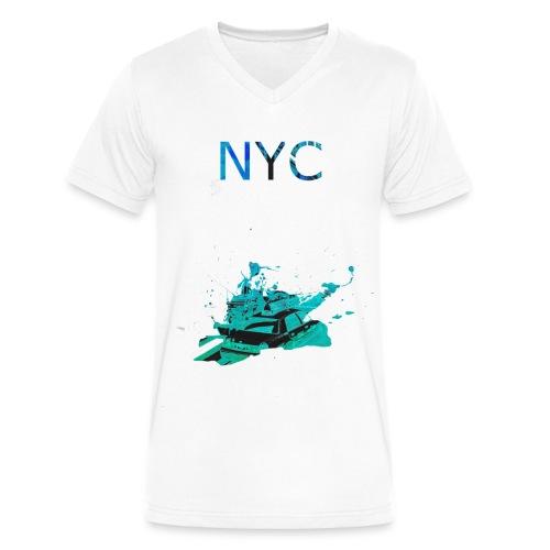 NYC Dark T White - Men's V-Neck T-Shirt by Canvas