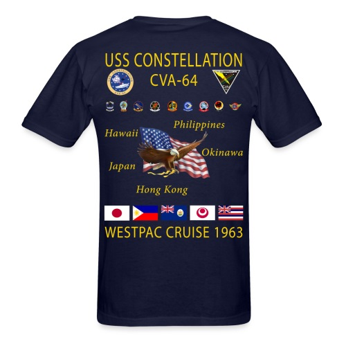 USS CONSTELLATION CVA-64 WESTPAC 1963 CRUISE SHIRT - Men's T-Shirt