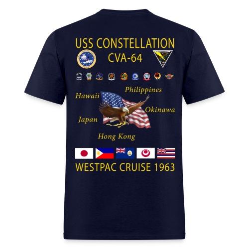 USS CONSTELLATION CVA-64 WESTPAC 1963 CRUISE SHIRT - Men's T-Shirt