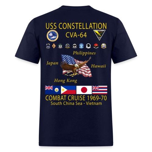 USS CONSTELLATION CVA-64 COMBAT CRUISE 1969-70 CRUISE SHIRT - Men's T-Shirt