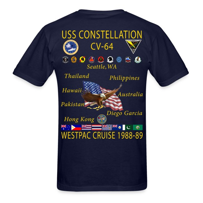 USS CONSTELLATION CV-64 WESTPAC  1988-89 CRUISE SHIRT
