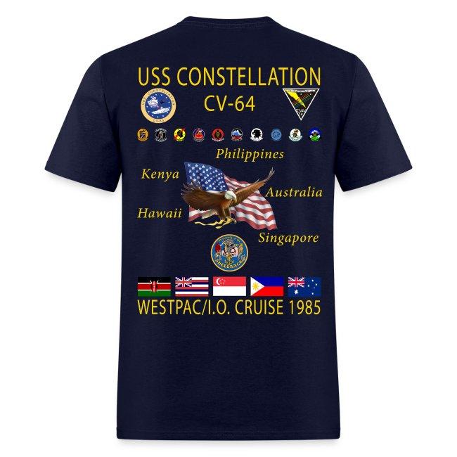 USS CONSTELLATION CV-64 WESTPAC/I.O. CRUISE 1985 CRUISE SHIRT