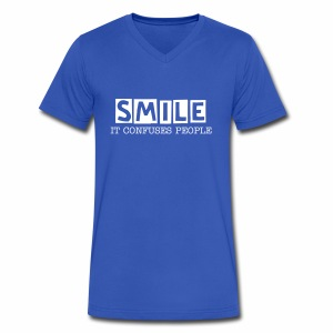 Smile, It Confuses People Mens V-Neck - Men's V-Neck T-Shirt by Canvas