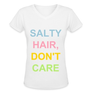 Salty Hair Don't Care-Picture Palm - Women's V-Neck T-Shirt
