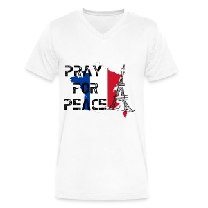 Pray For Peace France Mens V Neck - Men's V-Neck T-Shirt by Canvas