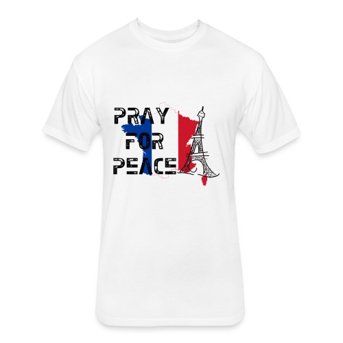 Pray for Peace Mens Fitted Tee - Fitted Cotton/Poly T-Shirt by Next Level