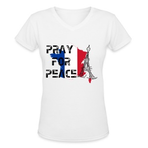 Pray For Peace France Womens V Neck - Women's V-Neck T-Shirt