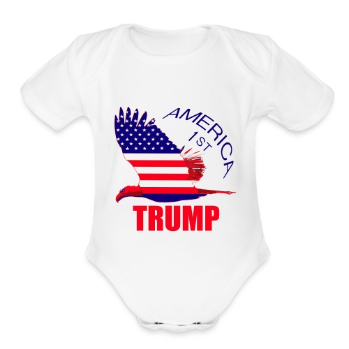Trump America First Eagle - Organic Short Sleeve Baby Bodysuit