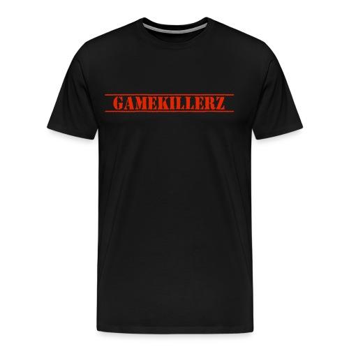 Mens Black T-Shirt w/ Red Logo - Men's Premium T-Shirt